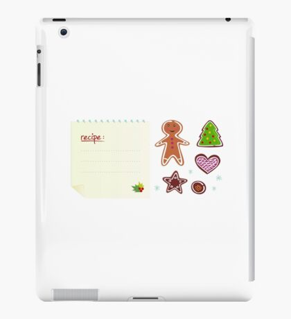 Cookies or christmas icons with recipe isolated on white iPad Case/Skin