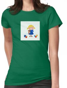 Happy winter blond child and christmas gift Womens Fitted T-Shirt
