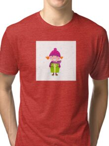 Cute Christmas girl with present isolated on white Tri-blend T-Shirt