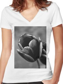 Tulip Up Close and Stark Women's Fitted V-Neck T-Shirt