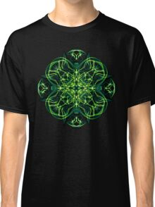 Energetic Geometry -  Green Celtic Cross & Clover Sacred Geometry Mandala Abstract Classic T-Shirt