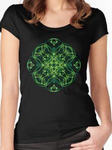 Energetic Geometry -  Green Celtic Cross & Clover Sacred Geometry Mandala Abstract Women's Fitted Scoop T-Shirt