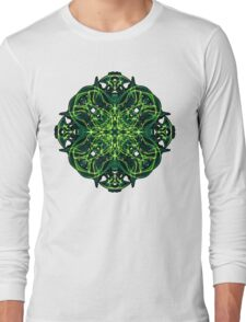Energetic Geometry -  Green Celtic Cross & Clover Sacred Geometry Mandala Abstract Long Sleeve T-Shirt
