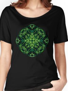 Energetic Geometry -  Green Celtic Cross & Clover Sacred Geometry Mandala Abstract Women's Relaxed Fit T-Shirt