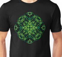 Energetic Geometry -  Green Celtic Cross & Clover Sacred Geometry Mandala Abstract Unisex T-Shirt