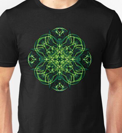 Energetic Geometry -  Green Celtic Cross & Clover Sacred Geometry Mandala Abstract Unisex T-Shirt