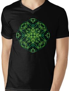 Energetic Geometry -  Green Celtic Cross & Clover Sacred Geometry Mandala Abstract Mens V-Neck T-Shirt