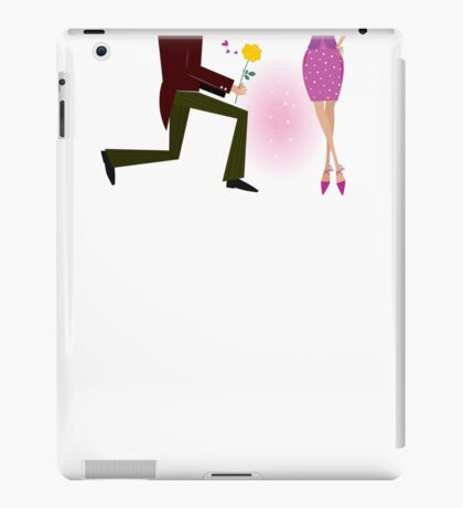 Valentine couple: man on knee is giving woman rose. Man is giving woman gift - yellow rose. Vector Illustration in retro style iPad Case/Skin