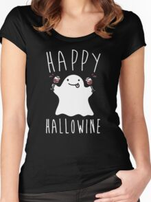 Happy Hallowine - Funny Ghost Women's Fitted Scoop T-Shirt
