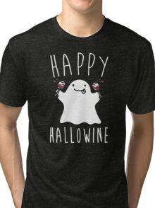 Happy Hallowine - Funny Ghost Tri-blend T-Shirt