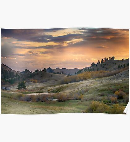 Sunset in the Bear Paws, Montana Poster