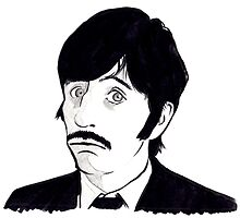 Ringo Starr Monochrome Illustration by sianbrierley