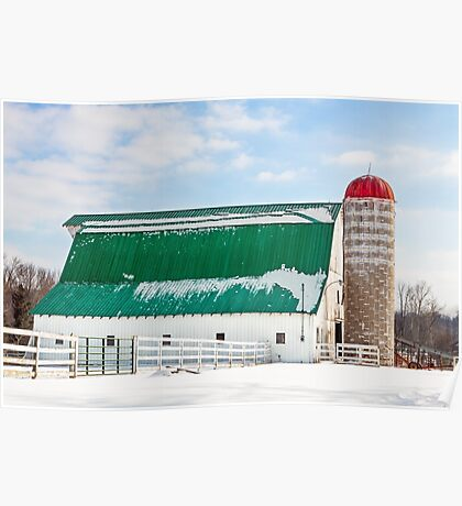 Snowy Barn and Silo Poster