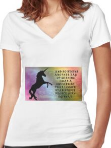 Unicorns Don't Tolerate Stupidity Women's Fitted V-Neck T-Shirt