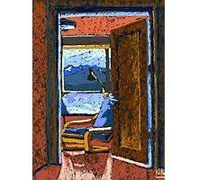 Window View Through The Door. Pastel Painting Photographic Print