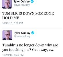 Tumblr is down, someone hold me by nicolinelisby