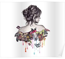Woman with butterflies Poster