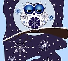 Cute Snowflakes & Snow Owl on a branch by walstraasart