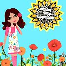 Courage Mixed Media Girl in a Field of Poppies by Laura Bell
