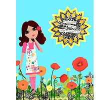 Courage Mixed Media Girl in a Field of Poppies Photographic Print