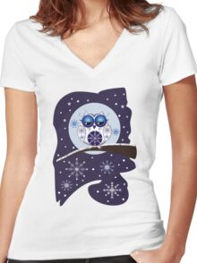 Cute Snow Owl on branch & decorative Snowflakes Women's Fitted V-Neck T-Shirt