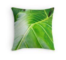 Glossy green leaf Throw Pillow