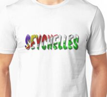 Seychelles Word With Flag Texture Unisex T-Shirt