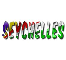 Seychelles Word With Flag Texture Photographic Print