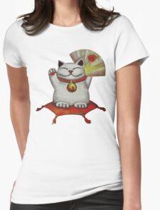 White Maneki Neko with a Japanese fan Womens Fitted T-Shirt