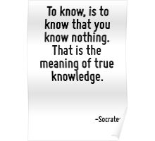 To know, is to know that you know nothing. That is the meaning of true knowledge. Poster