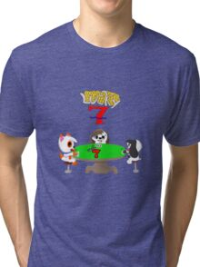 Gamebuster911TV's Lucky Seven Year Anniversary (Sam, Tony, and Almond) Tri-blend T-Shirt