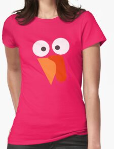 Turkey Face Funny Thanksgiving Womens Fitted T-Shirt
