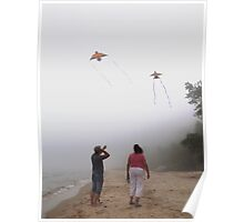 Playing with Kites in Fog Poster