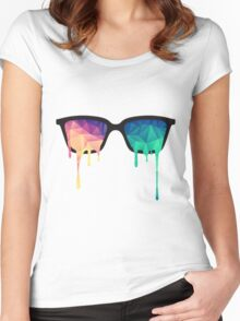 Psychedelic Nerd Glasses with Melting LSD Women's Fitted Scoop T-Shirt