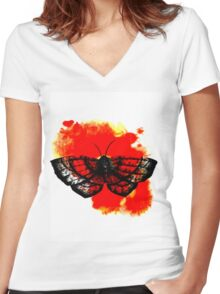 Butterfly in Red Women's Fitted V-Neck T-Shirt