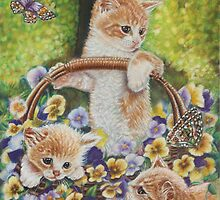Cat Art - Cute Kittens in a Flowers Basket at Spring Time  by AlessandraArt