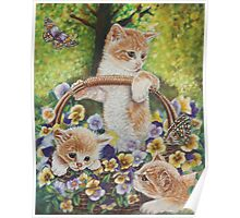 Cat Art - Cute Kittens in a Flowers Basket at Spring Time  Poster