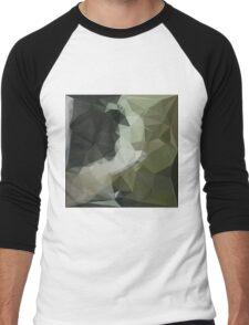 Dark Slate Gray Abstract Low Polygon Background Men's Baseball ¾ T-Shirt