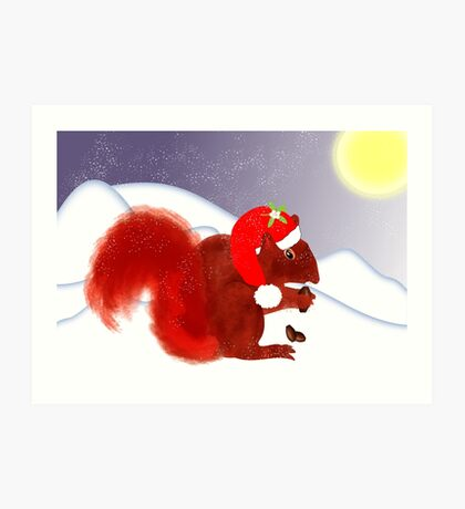 Cute Red Squirrel Snowy Christmas Scene Art Print