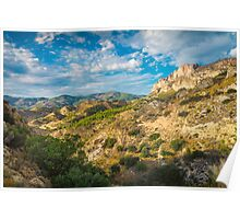 Evening views from mountain trails Poster