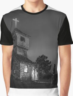 Abandoned church at night. Mysterious nun Graphic T-Shirt