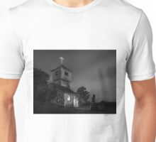 Abandoned church at night. Mysterious nun Unisex T-Shirt