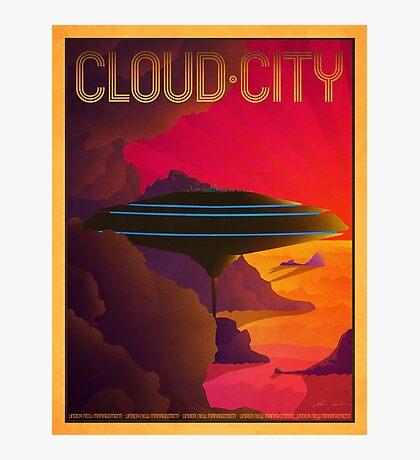 Cloud City Retro Travel Poster Photographic Print