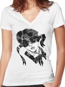 Cupid painted blind- blood version Women's Fitted V-Neck T-Shirt