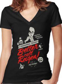 Better Call Reigen Black Back Women's Fitted V-Neck T-Shirt