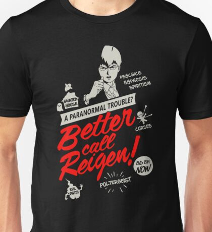 Better Call Reigen Black Back Unisex T-Shirt
