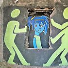 """Ghost Town Blue Girl: """"She puts her makeup on like graffiti on the walls of the heartland….""""  by Cheri Sundra"""