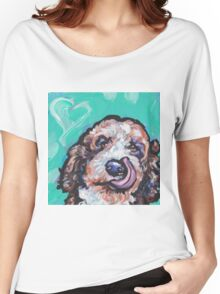Fun Labradoodle Doodle Dog bright colorful Pop Art Women's Relaxed Fit T-Shirt