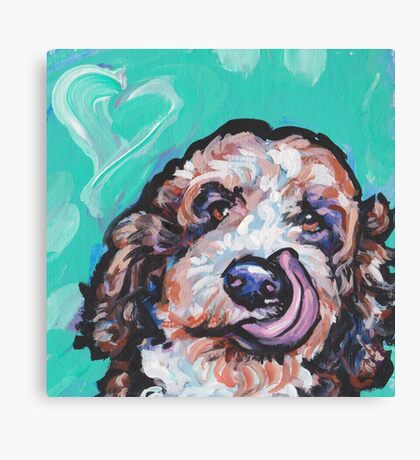 Fun Labradoodle Doodle Dog bright colorful Pop Art Canvas Print