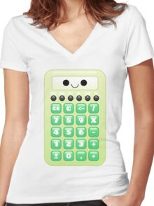 kawaii green calculator Women's Fitted V-Neck T-Shirt